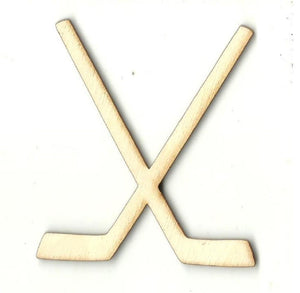 Crossed Hockey Sticks - Laser Cut Wood Shape Spt420 Craft Supply