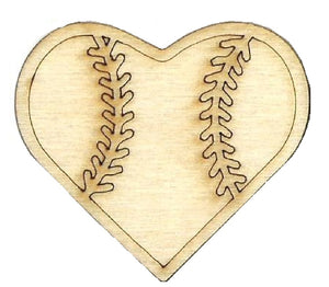 Baseball Heart - Laser Cut Wood Shape SPT640