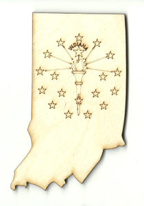 Indiana - Laser Cut Wood Shape STAT100