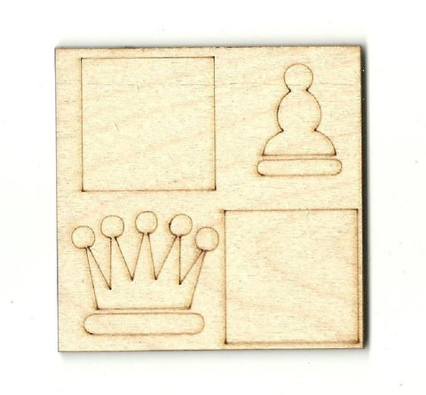 Chess Set - Laser Cut Wood Shape Toy12 Craft Supply