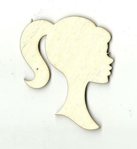 Barbie Bust Silhouette - Laser Cut Wood Shape Toy8 Craft Supply