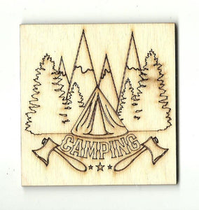 Camping Sign - Laser Cut Wood Shape Trp52 Craft Supply