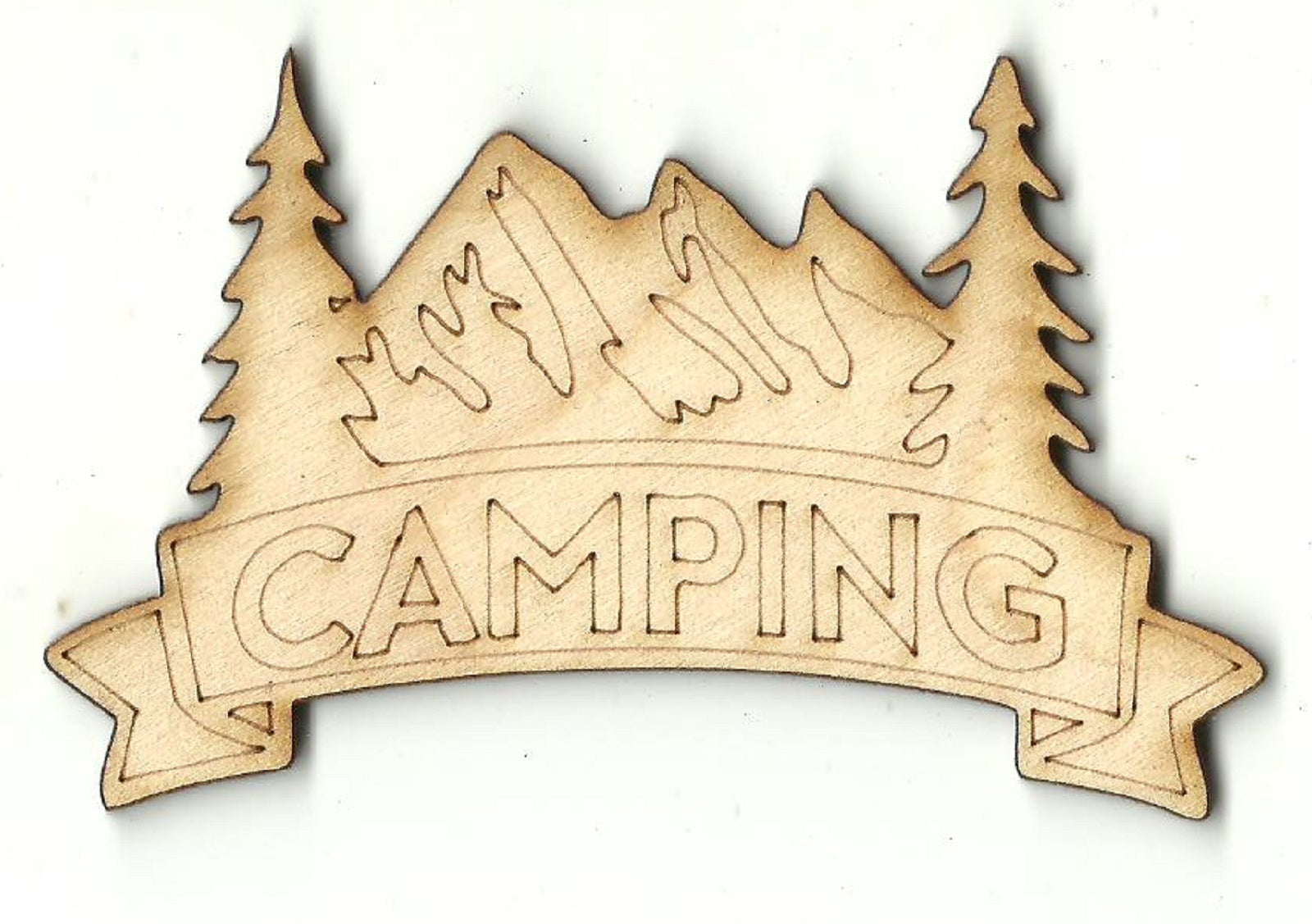 Camping Sign - Laser Cut Wood Shape TRP65