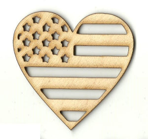 American Flag Heart - Laser Cut Wood Shape Usa26 Craft Supply