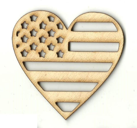 American Flag Heart - Laser Cut Wood Shape USA26