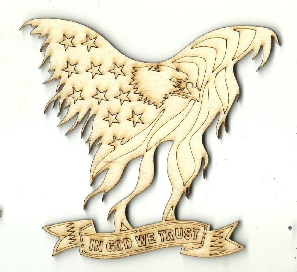 In God We Trust Eagle - Laser Cut Wood Shape Usa37 Craft Supply