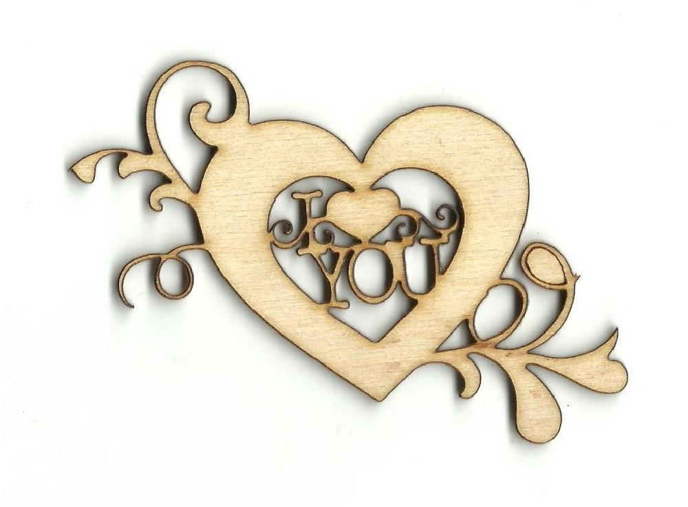 I Love You Heart - Laser Cut Wood Shape Val30 Craft Supply