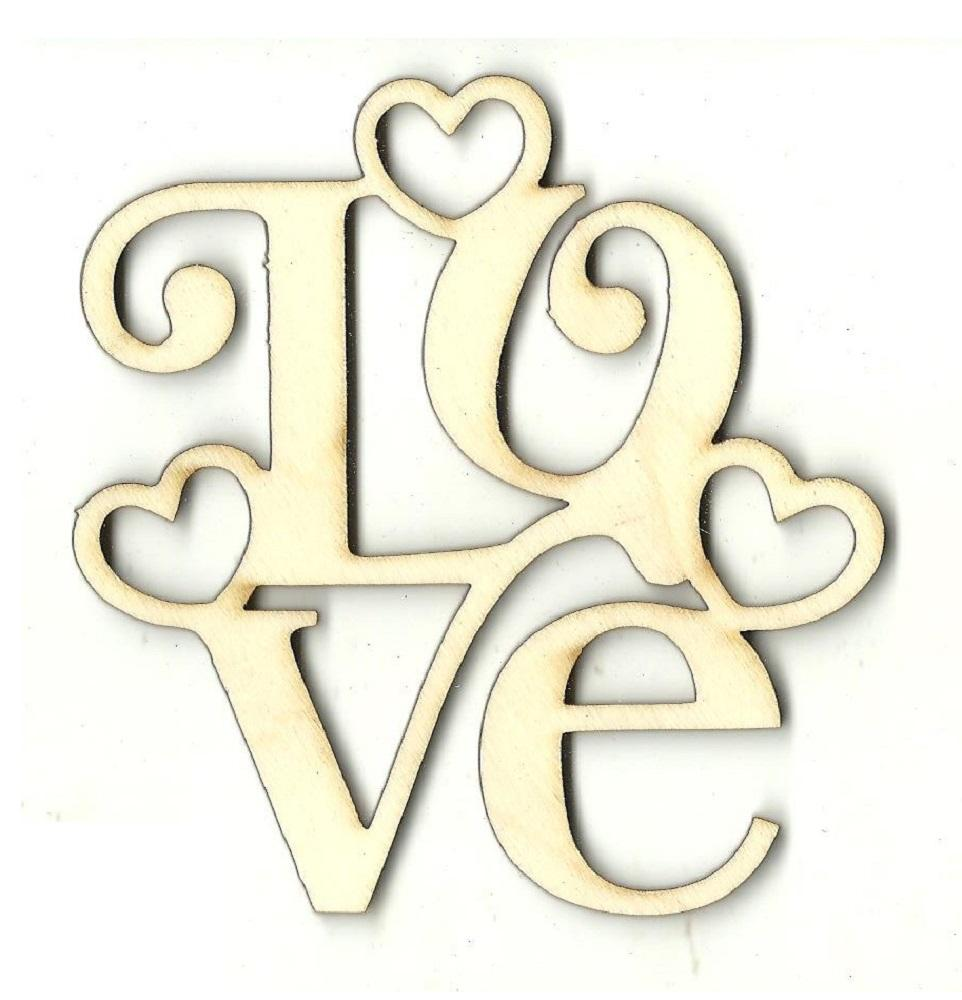 Love Hearts - Laser Cut Wood Shape Val37 Craft Supply