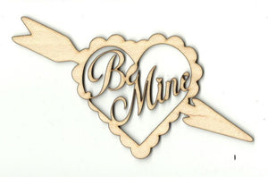 Be Mine Heart & Arrow - Laser Cut Wood Shape Val3 Craft Supply