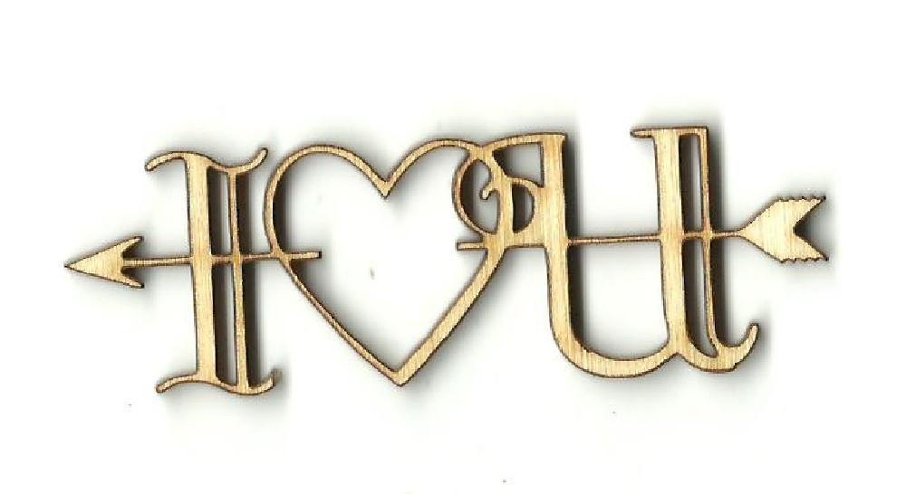 I Love You Heart Arrow - Laser Cut Wood Shape Val32 Craft Supply