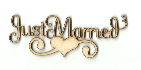 Just Married Heart - Laser Cut Wood Shape Wdg19 Craft Supply