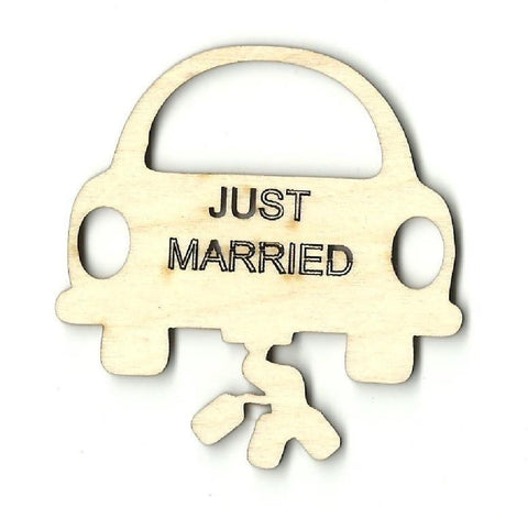 Just Married Car - Laser Cut Wood Shape Wdg6 Craft Supply