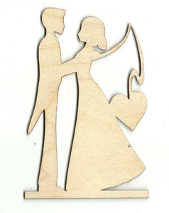 Couple With Heart Fishing Pole - Laser Cut Wood Shape Wdg8 Craft Supply
