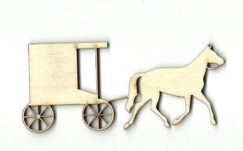 Buggy & Horse - Laser Cut Wood Shape Wgn12 Craft Supply