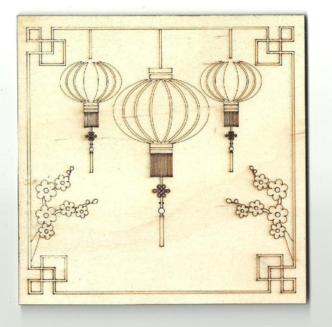 Chinese Lanterns Picture - Laser Cut Wood Shape Wld17 Craft Supply