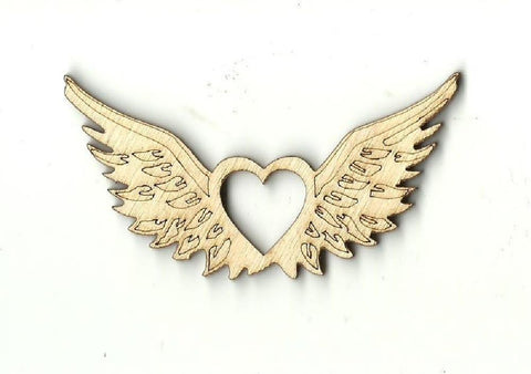 Heart With Wings - Laser Cut Wood Shape Wng4 Craft Supply