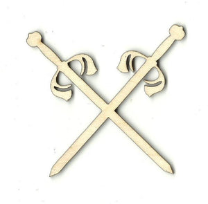 Crossed Swords - Laser Cut Wood Shape Wpn19 Craft Supply