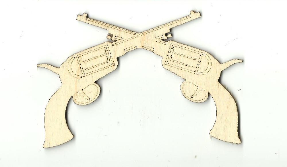 Crossed Pistol Guns - Laser Cut Wood Shape Wpn50 Craft Supply