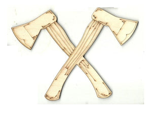 Crossed Axes - Laser Cut Wood Shape Wpn64 Craft Supply