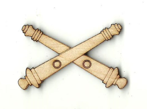 Crossed Cannons - Laser Cut Wood Shape WPN68