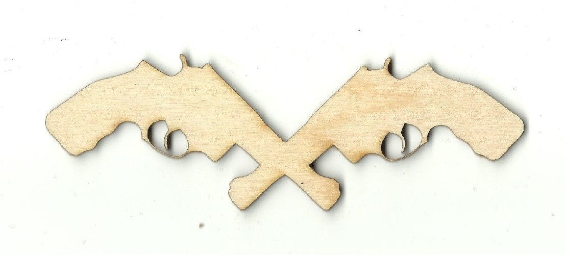 Crossed Guns - Laser Cut Wood Shape Wpn9 Craft Supply
