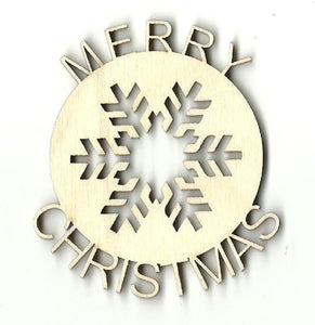 Merry Christmas Snowflake - Laser Cut Wood Shape Xms116 Craft Supply