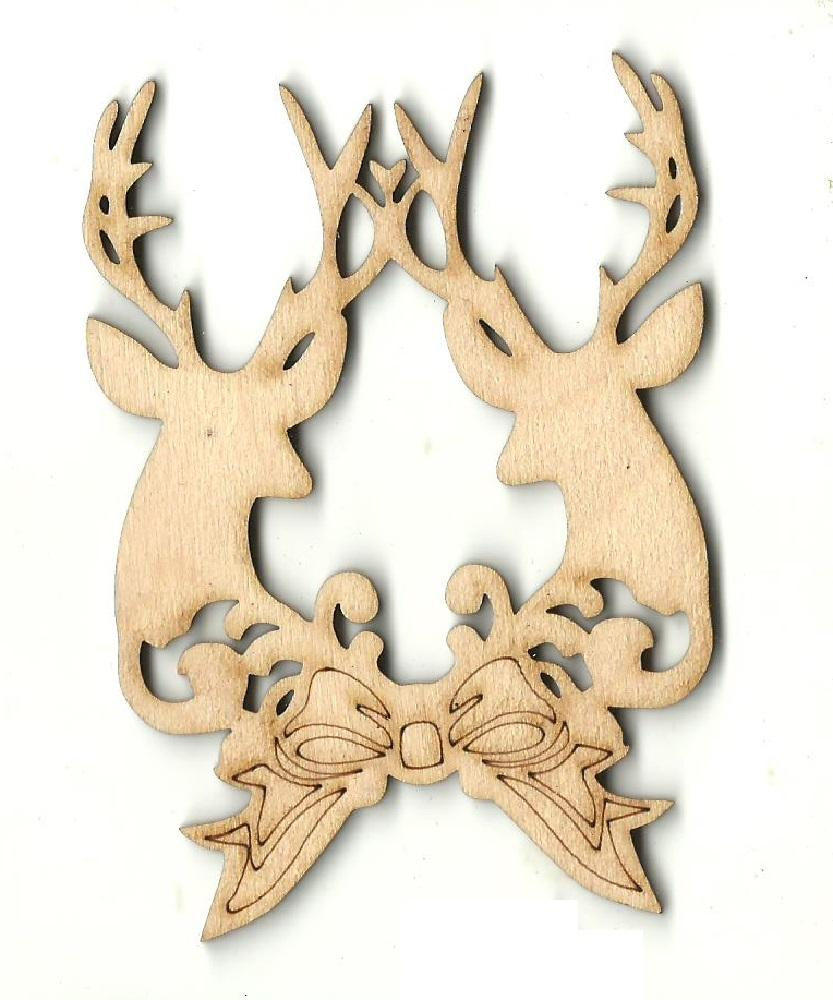 Deer With Bow - Laser Cut Wood Shape Xms175 Craft Supply