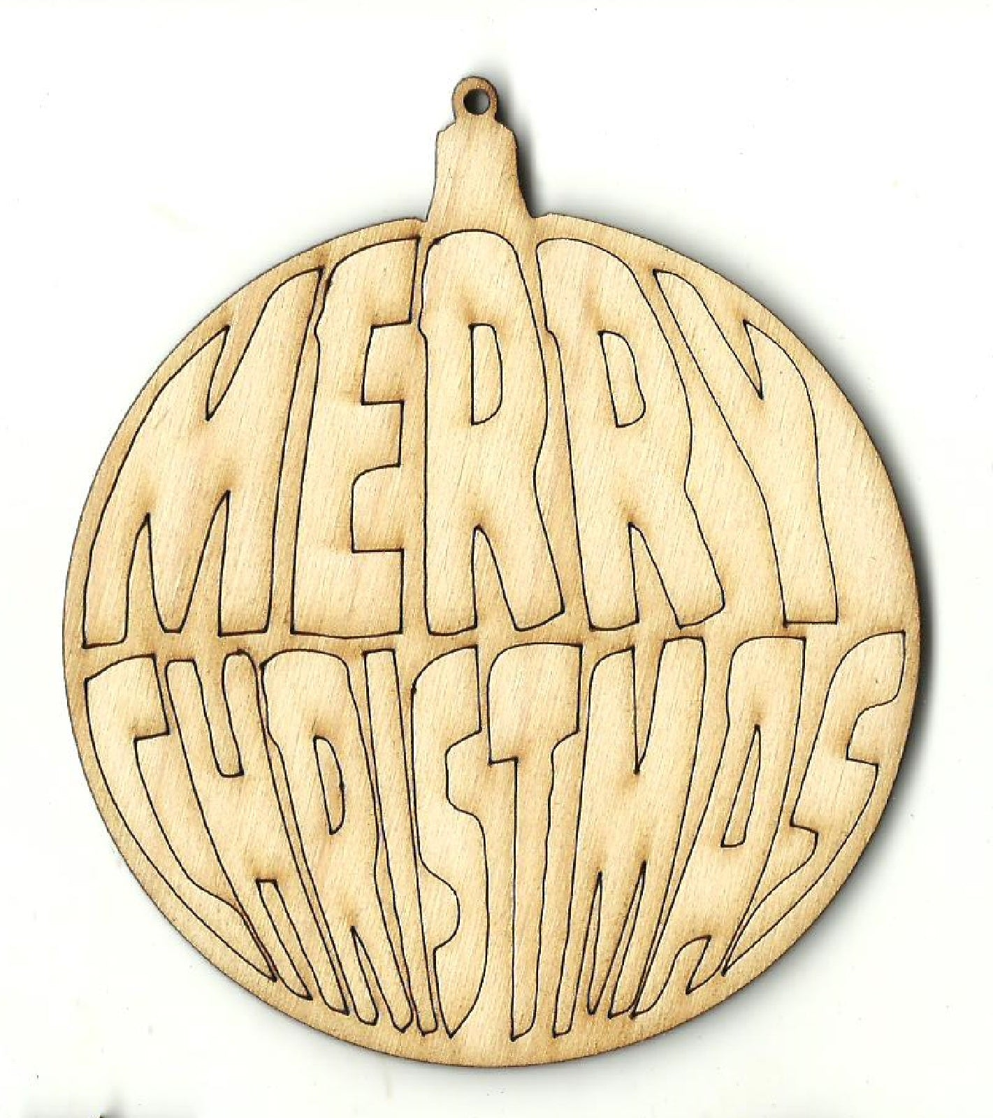 Merry Christmas Ornament - Laser Cut Wood Shape XMS208
