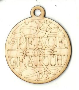 Peace On Earth Ornament - Laser Cut Wood Shape XMS220