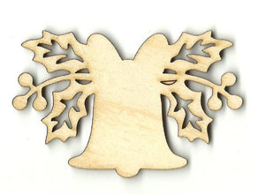 Bell with Holly - Laser Cut Wood Shape XMS240