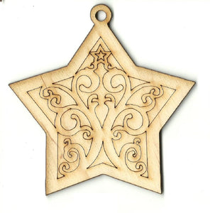 Star Ornament - Laser Cut Wood Shape XMS249