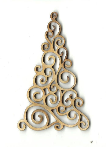 Curly Christmas Tree - Laser Cut Wood Shape Xms2 Craft Supply