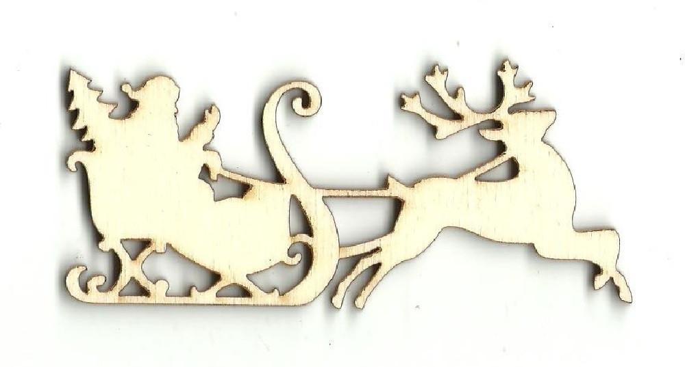 Santa & His Sleigh - Laser Cut Wood Shape Xms32 Craft Supply
