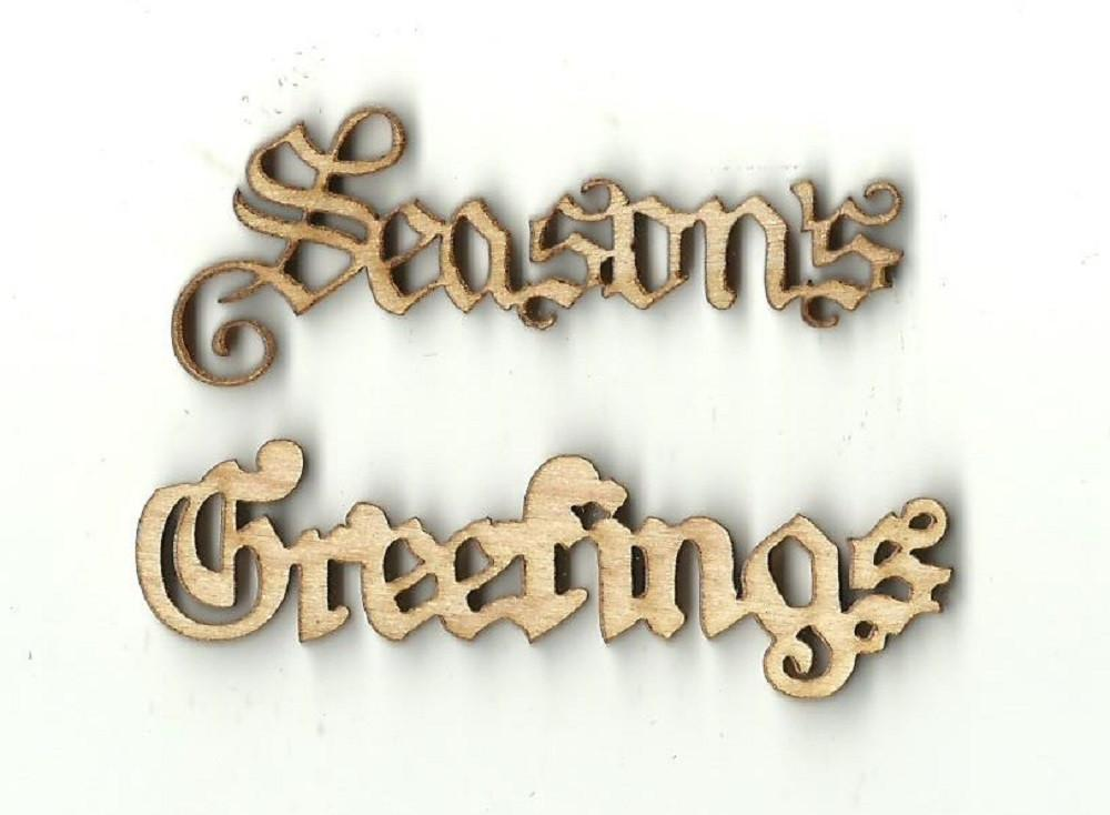 Seasons Greetings - Laser Cut Wood Shape Xms52 Craft Supply