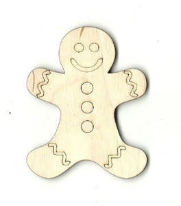 Gingerbread Man - Laser Cut Wood Shape Xms63 Craft Supply