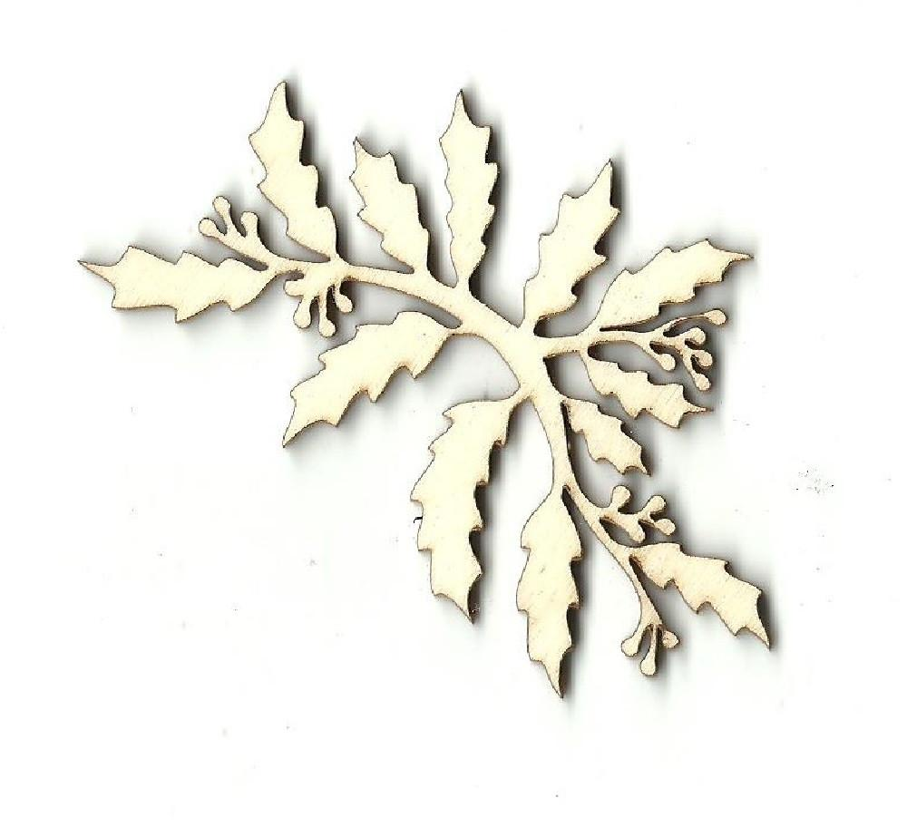 Holly Branch - Laser Cut Wood Shape Xms71 Craft Supply