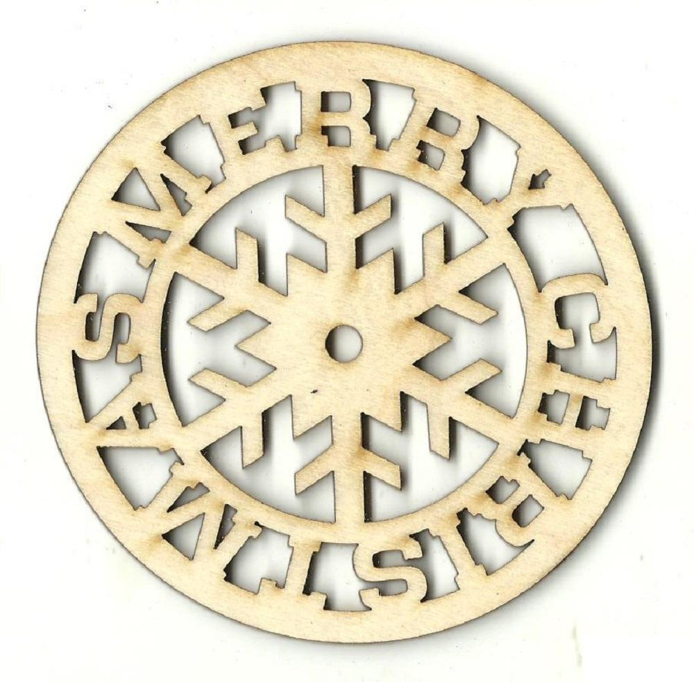 Merry Christmas Snowflake - Laser Cut Wood Shape Xms89 Craft Supply