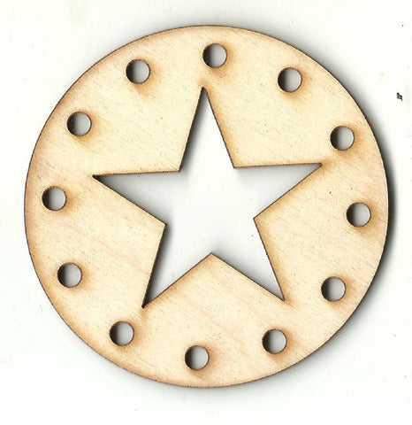 Circle with a Star - Laser Cut Wood Shape XTR104