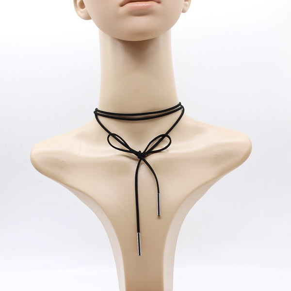 Mystery Faux Leather Choker Necklace, All Colors