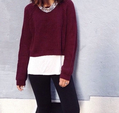 Wine Color Crop Top Sweaters, All Sizes