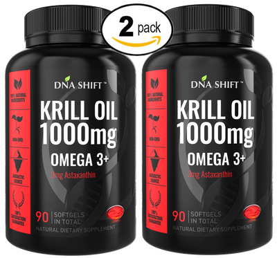 1000mg HIGH POTENCY Krill Oil Omega-3 w/ 3mg Astaxanthin Natural Supplement - 180 Softgels Caps (2x 90 Softgels Caps Bottles Individually Boxed)