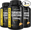 Turmeric Curcumin 1500mg ULTRA HIGH STRENGTH Natural Supplement - 270 Veg Caps (3x 90 Veg Caps Bottles Individually Boxed)
