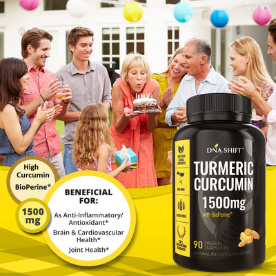 Turmeric Curcumin 1500mg ULTRA HIGH STRENGTH Natural Supplement - 180 Veg Caps (2x 90 Veg Caps Bottles Individually Boxed)
