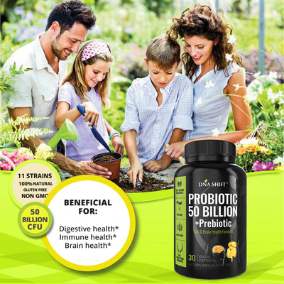 Probiotics© 50 Billion CFU, 11 Bacterial Strains 100% Natural Supplement - 30 Veg Caps
