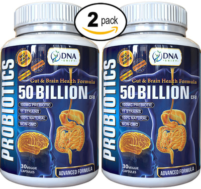 Probiotics© 50 Billion CFU Advanced Formula 100% Natural Supplement - 60 Veg Caps (2x 30 Veg Caps Bottles Individually Boxed)