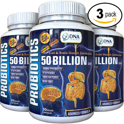 Probiotics© 50 Billion CFU Advanced Formula 100% Natural Supplement - 90 Veg Caps (3x 30 Veg Caps Bottles Individually Boxed)