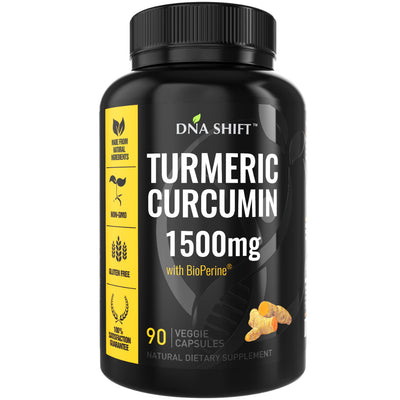 Turmeric Curcumin 1500mg ULTRA HIGH STRENGTH Natural Supplement - 90 Veg Caps (New Design)