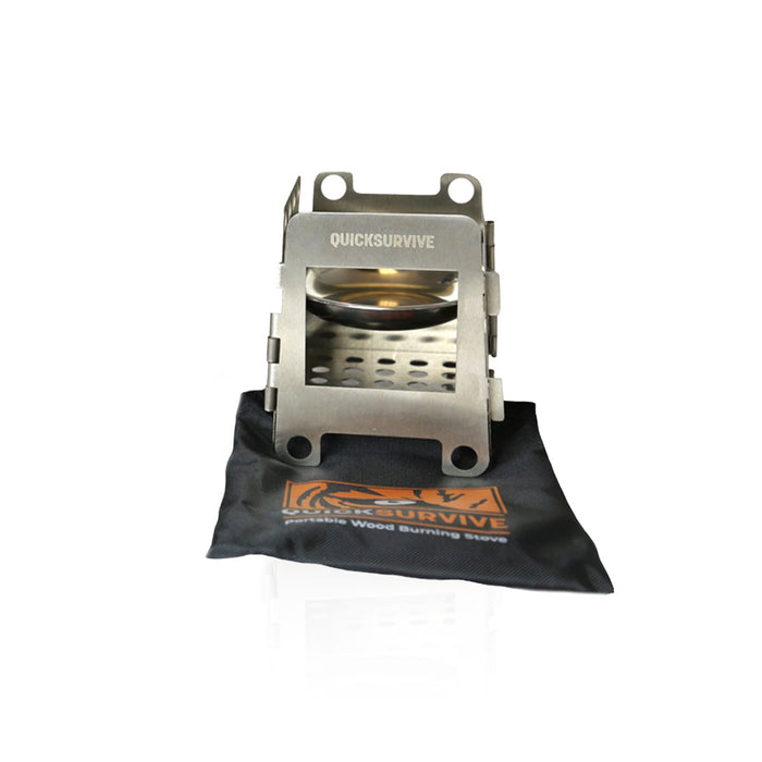 Portable Mini Wood Burning Survival Stove - QUICKSURVIVE, Folding Portable camping wood burning stove, collapsible and lightweight for backpacking hiking Picnic Survival.
