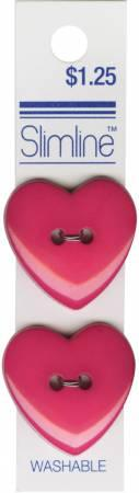 2 Hole Button Fuchsia Heart