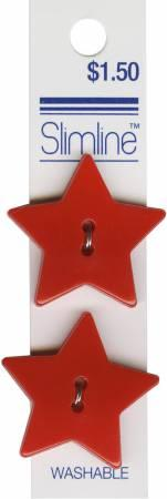 2 Hole Button Red Star 1-1/8in